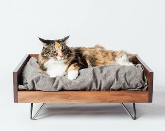Walnut Cat Bed | Cat Bed | Maple Cat Bed | Washable Cat Bed | Wooden Cat Bed | Cat Furniture | Modern Cat Furniture | Elevated Cat Bed
