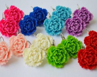 SALE-Chrysanthemum Flower Earrings Shabby Style Lucite Flower Earrings