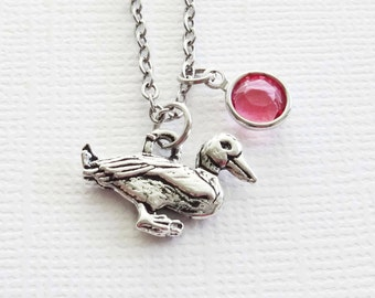 Duck Necklace Duckling Goose Bird Animal Girl Boy Teen Birthstone Jewelry Birthday Gift Silver Jewelry Swarovski Channel Birthstone