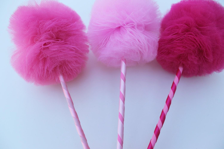 Tul Pom Pom varitas PREMIUM rosa princesa cotillón 3 juego