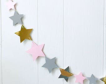 Gold Grey and Pink Star Garland / Wedding Decoration / Garland Bunting / Kids RoomDecor / Nursery Decor / Photo Prop / Adjustable Hand Sewn