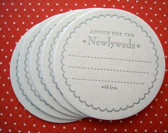 Letterpress Coaster Set - advice for the newlyweds (set of 30)