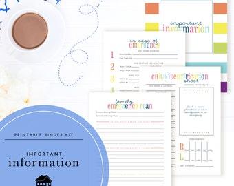 Important Information Binder Kit PDF - A Printable PDF
