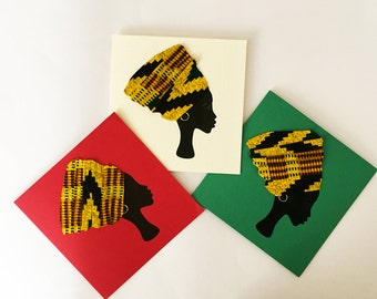 African headwrap card, African woman  card, African greeting cards in fabric, gele headwrap, afrocentric card,  kente headwrap