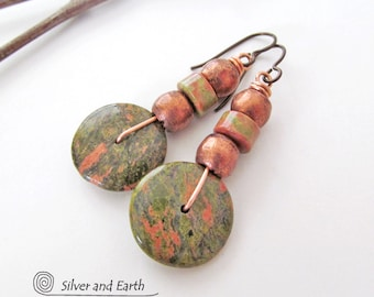 Unakite Earrings, Natural Stone Earrings, Casual Earthy Earrings, Pink Green Earrings, Unakite Jewelry, Handmade Rustic Earthy Stone Jewelry