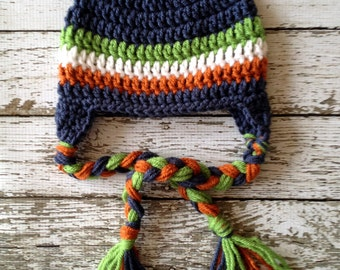 Stripe Beanie in Denim Blue, White, Green and Orange Available in Newborn to 5 Year Size- MADE TO ORDER