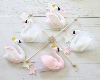 Baby Mobile Swan Baby Mobile Swan Mobile Bird Mobile Baby Girl Mobile Animal Mobile Star Mobile