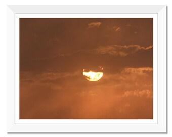 Setting sun, Photograph print, sunset, clouds, sky, printable art, instant download, wall art