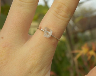 Dainty Clear Quartz Ring (with Silver/Gold Plated Wire)