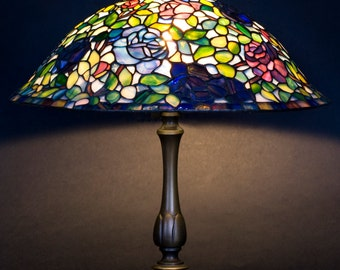 Rose Lamp Shade, Stained Glass Lamp, Miniature Lamp, Rose Lights, Tiffany Lamp, Stained Glass Light, Lamp Shade, Home Decor