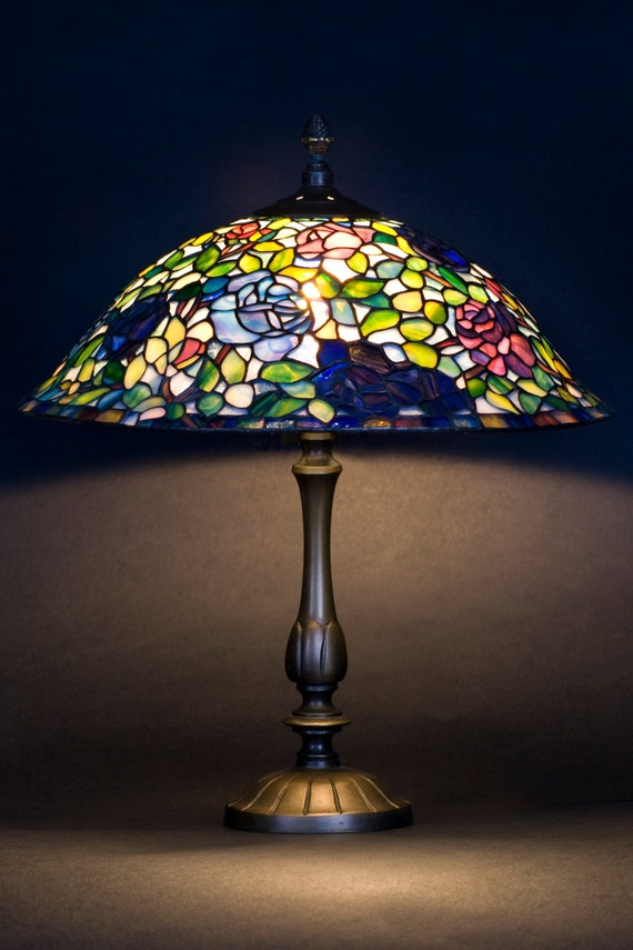 Rose lamp shade stained glass lamp miniature lamp rose aloadofball Gallery