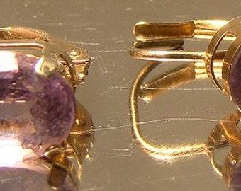 10K Yellow Gold Amethyst Earrings 1960s 10 K Lever Back Pierced