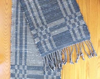 Handwoven Table Runner, Reversible, Rag Weaving in Blue & Brown, Rug, Handmade