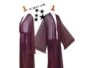 Women long robe, Intimate kimono, chic Cardigan, long sheer cardigan, maroon tassel robe, maxi kimono, auburn long robe, purple bridal robe