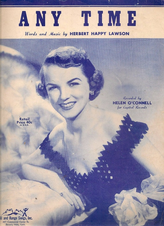 Any Time + Herbert Happy Lawson + 1949 + Vintage Sheet Music