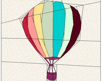 Rainbow Balloon paper piecing PP pdf Pattern