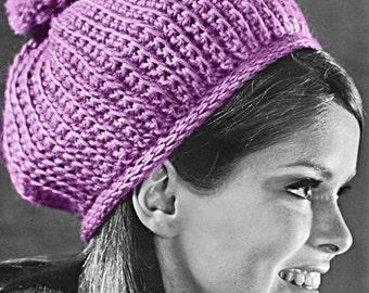 Crochet Pattern - Vintage Pom Pom Dome Hat - Crochet Toque - PDF Instant Download - 60s Winter Hat Cap Pattern - Digital Pattern - Puff Cap