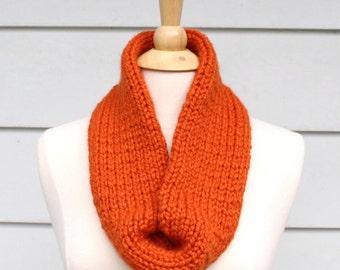 Hand knit circle scarf, orange knit tube scarf, knit loop scarf, hand knit eternity scarf, orange knit necklace hand knit scarf winter scarf