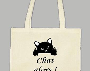 Natural cotton Tote bag bag: cat then