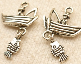 Fisherman in Boat with Fish Dangle, Antique Silver (4) - S72