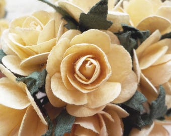 """100! Paper Roses, Deep Ivory Cream, Mulberry Paper Roses, Card Making, Embellishments, Ivory Paper Flowers, Ivory Wedding Roses, 20mm /0.8"""""""
