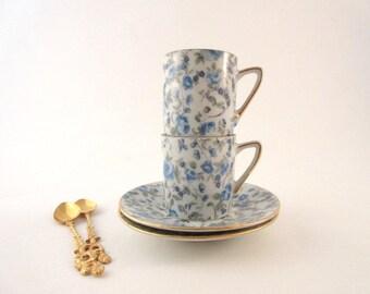 Vintage Demitasse Set / Blue Roses / Cups and Saucers/ Japan China / Gold Trim / Wedding Gift