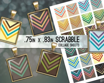 Digital Collage Sheet Retro Chevron Arrows Scrabble Tile .75x.83 Images on 4x6 and 8.5x11 Download Sheets for Glass Resin Pendants