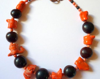 Handmade Necklace Organic All Natural Coral Chunks & Beads with Mucuna Sea Beans Stunning Unusual
