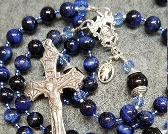 SALE Rosary Blue Tiger Eye Onyx, Sterling Silver Hand Cast Crucifix, HeartFelt Rosaries