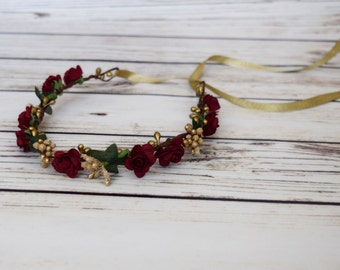Burgundy and Gold Flower Crown - Fall Flower Halo - Holiday Bridesmaid Flower Crown - Autumn Flower Crown - Winter Rose - Ribbon Tie Back