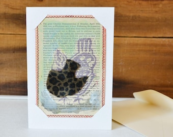 Postcard and Card Combo. Chicken in Leopard Print Outfit Small Art Chicken Print on Vintage book Upcycled mixed media wall art Page 279