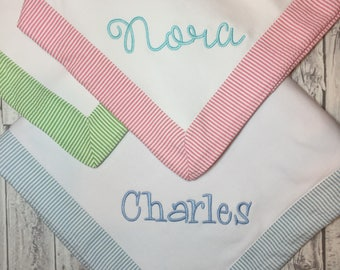 Seersucker baby blanket, Monogram baby blanket, baby blanket with name, personalized baby blanket, embroidered baby blanket, monogram baby