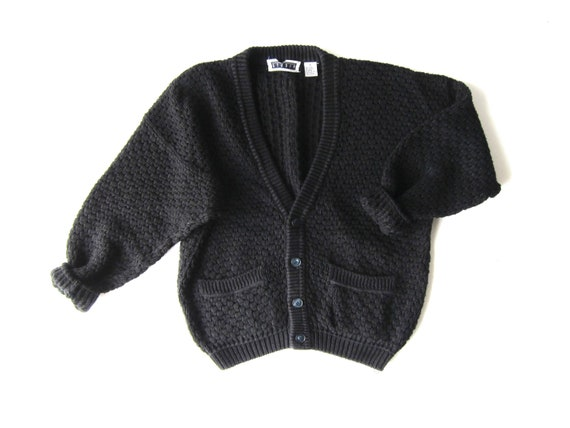 80s Black Cardigan Sweater Thick Woven Cotton Sweater Basic Knit Button Up Slouchy Sweater Vintage Oversized Jumper Vintage Womens Medium
