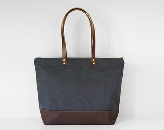"Medium Zipper Tote | Waxed Canvas Leather | Modern Diaper Bag | 13"" Laptop 