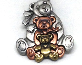 Classic Signed L RAZZA Mix Metal Teddy Bears Vintage Estate Brooch