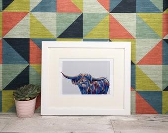 Painted highland cow framed in white or black frame