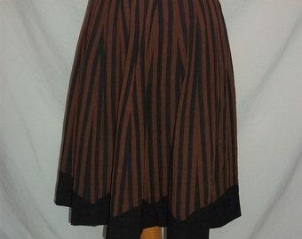 Vintage 40s 50s Brown Black Striped Skirt Custom Repurposed Steampunk M  W 31
