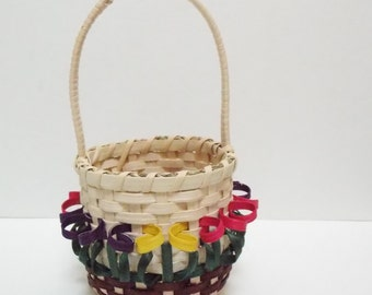 Mini Easter Basket - rTulip Basket - Decorative Basket - Candy Basket - Round Basket - Flower Basket - Spring Decoration - Spring Basket