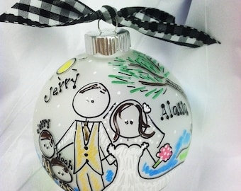 Choose Your Scene Cartoon Wedding Ornament From Photograph or Description Xtinas Image
