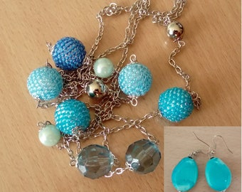 Color gradient necklace and matched earrings