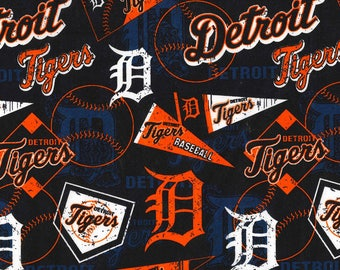 MLB DETROIT TIGERS Vintage Retro Print Baseball 100% cotton fabric licensed material Crafts, Quilts, Home Decor