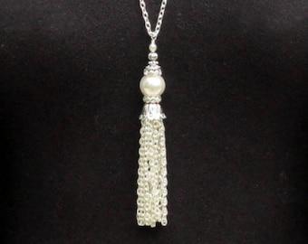 Tassel Necklace Pearl, Silver Tassel Necklace, White Pearl Tassel Necklace, Silver Tassel Pendant, Beaded Tassel Long, Gift Woman