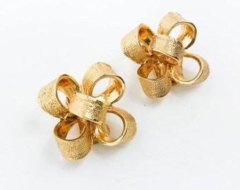 Gold Bow Earrings | Brushed Gold Clip Earrings | KJL