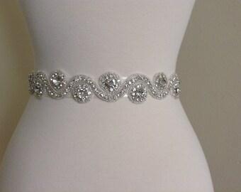Bridal sash, bridal belt, wedding dress sash, rhinestone sash, beaded sash