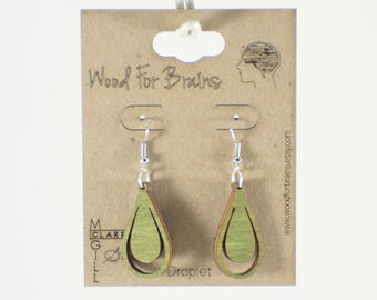 "Laser Cut Wooden Earrings - ""Droplet"""