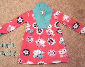 Fleece Dress (Fern), owls, girls clothing, pink, comfy