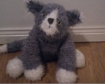 Cute & Cuddly Cat Hand Knitted Stuffed Toy (Made from a Sirdar pattern)
