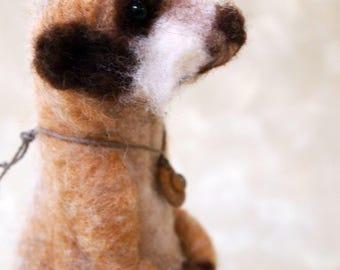 needle felted meerkat