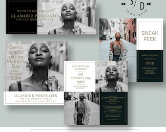 Glamour Portrait Photography Templates, Photoshop Templates, Marketing Templates for Photographers, Mothers Day Sessions, Mini Sessions
