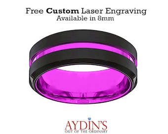 Mens Wedding Band  Tungsten Ring  Black and Purple Tungsten  Passionate Purple  Beveled Edge  Tungsten Wedding Band